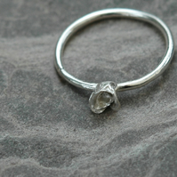 Silver Ring wit Dainty Rose,  size O