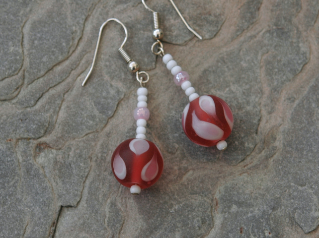 Cherry pink and white lampwork bead drop earrings