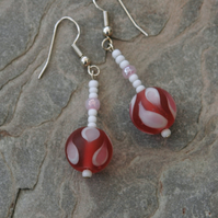 SALE! 50%off Cherry pink and white lampwork bead drop earrings,  E67