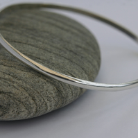 Sterling Silver Bangle Bracelet, plain polished, 3.2mm wide, hallmarked,  B89