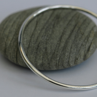 Classic Chunky Sterling Silver Round Bangle, 3mm wide, Hallmarked, Medium, B96