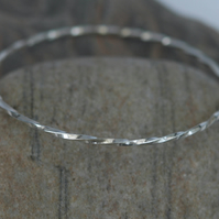 Sterling Silver Square Twist Stacking Bangle,  Hallmarked