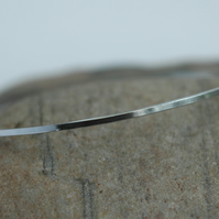 Sterling Silver Stacking Bangle, Slimline, Square profile, Hallmarked,  B98