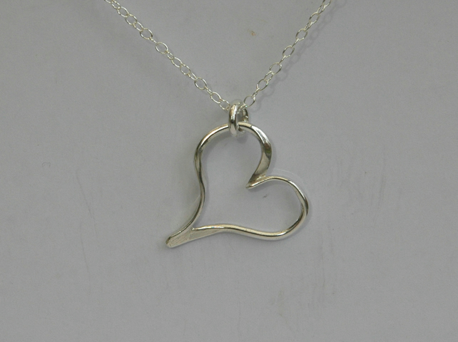 Sterling Silver Open Heart Pendant,  P149