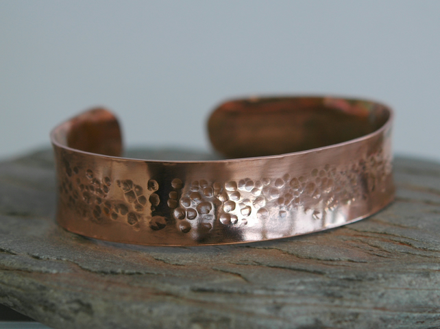 Wide Hammered Copper Cuff  Bangle, Anticlastic, Unisex,  B104