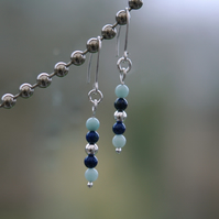 Sterling Silver Drop Earrings with Amazonite and Lapis lazuli,  E107