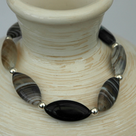 Stretch Bracelet in Sterling Silver and Botswana Agate,  B106