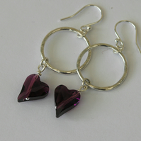 Sterling Silver Drop Earrings with Amethyst Crystal Hearts,E110