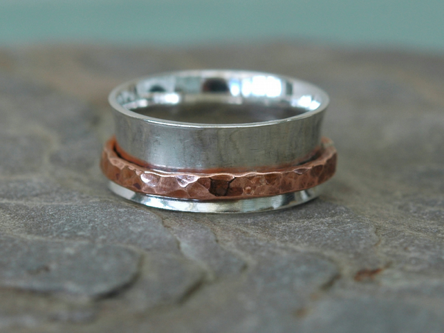 Silver Spinning Ring with Copper Spinner, size Q