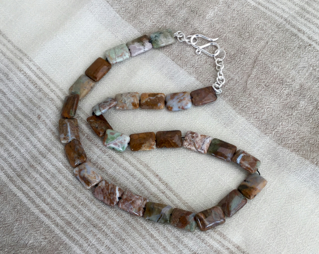 Sterling Silver and Picture Jasper Necklace