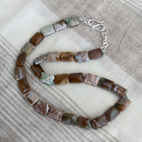 Sterling Silver and Picture Jasper Necklace, P150