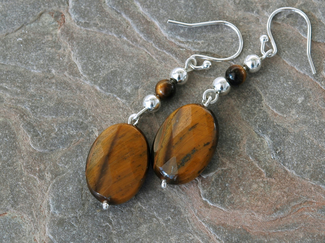 Sterling Silver Drop Earrings with Tiger's Eye Gemstones,  E109