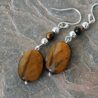 Sterling Silver Drop Earrings with Tiger's Eye Gemstones