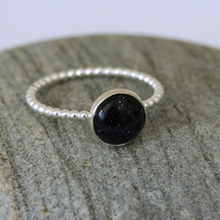 Sterling Silver Beaded Ring with Blue Goldstone, size O,  R124