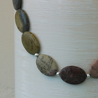 Picture Jasper and Sterling Silver Gemstone Necklace, P152