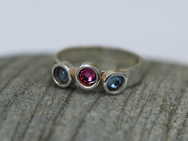 50% off Sterling Silver Ring with Swarovski Crystals, size P-Q, Hallmarked, R15