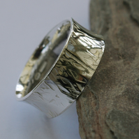 Wide Sterling Silver Man's Ring, Anticlastic, Hammer-textured,  size W