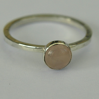 Sterling Silver Ring with Rose Quartz Gemstone, Hallmarked, size 0