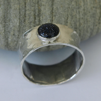 Wide Sterling Silver Man's Ring with Blue Goldstone, 'Night Sky'