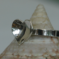 Domed Heart Ring in Sterling Silver, size M-N, Hallmarked, R59