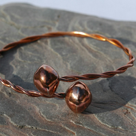 Copper torc bangle bracelet,   B49