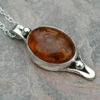 Sterling Silver and Amber Handmade Pendant with Granulations,  P154