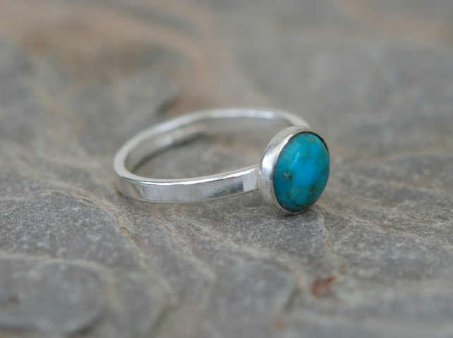 Sterling Silver Ring with Turquoise, Hallmarked, size N,  R114