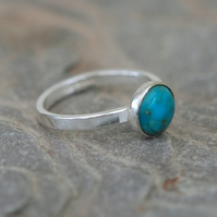 Sterling Silver Ring with Turquoise, Hallmarked
