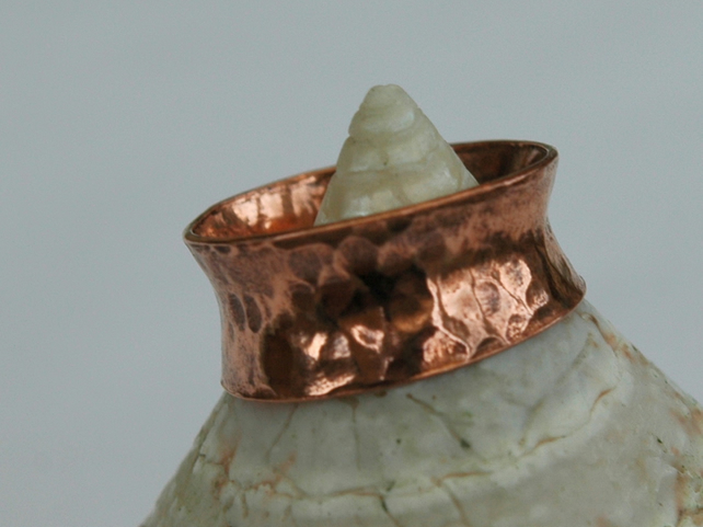 Hammered Copper Anticlastic Ring, size K,  R72A