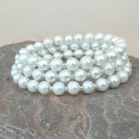 White Faux Pearl and Seed Bead Memory Wire Bracelet, B31