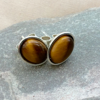 Sterling Silver Oval Stud Earrings with Tiger's Eye Gemstones