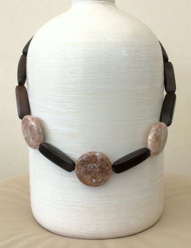 Chunky Statement Necklace with Marble Discs and Mahogany Beads, P156