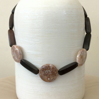 Chunky Statement Necklace with Marble Discs and Mahogany Beads