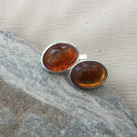 Sterling silver Oval Stud Earrings with Amber Cabochons,  E114