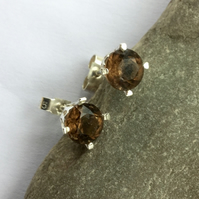 Sterling Silver Stud Earrings with Smoky Quartz Gemstones