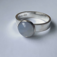 Sterling Silver Ring with Blue Lace Agate Gemstone, Size M, Hallmarked