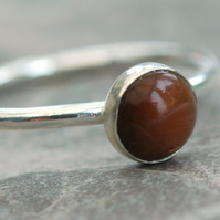Peach Moonstone and Sterling Silver Ring,  size P,   R127