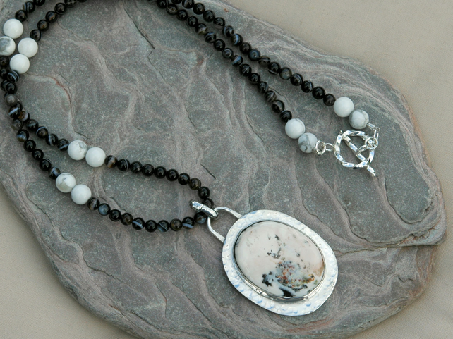 White Buffalo Turquoise Pendant with Sterling Silver,  P145