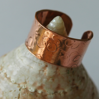 Textured Copper Ring, Open and Adjustable, size N-T,   R78B