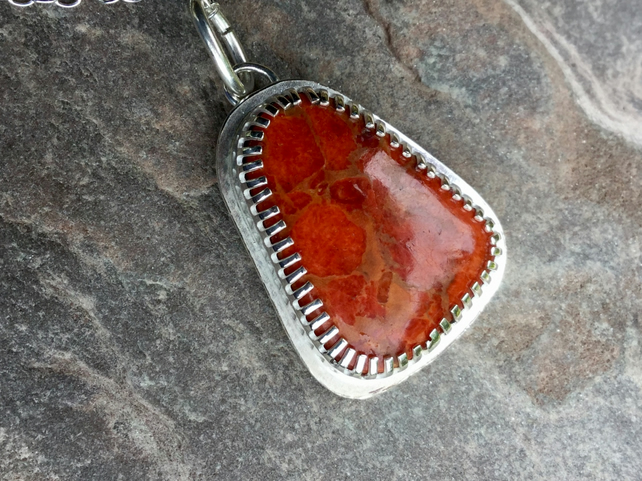Apple Coral Pendant with Sterling Silver Claw Setting