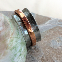 Sterling Silver Spinner Ring with Copper Spinner, Size U,  R126