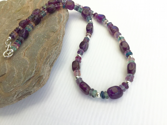 Sterling Silver and Amethyst Necklace with Rainbow Fluorite,  P159
