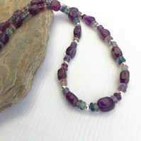 Sterling Silver Necklace with Rainbow Fluorite and Amethyst, February Birthstone