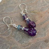 Sterling Silver and Gemstone Drop Earrings with Amethyst and Fluorite,  E118