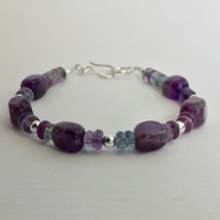 Sterling Silver and Amethyst Bracelet with Rainbow Fluorite,  B118