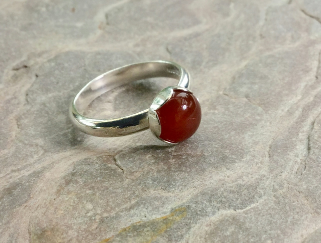 Sterling Silver Ring with Carnelian Gemstone,  size N-O, R129
