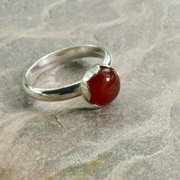 Sterling Silver Ring with Carnelian Gemstone,  size N-O