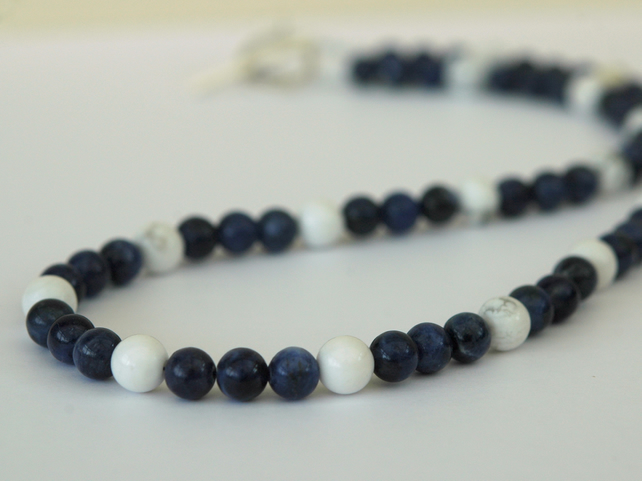 Sodalite and White Howlite Beaded Necklace with Sterling Silver,  P163