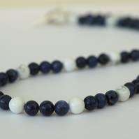 Sodalite and White Howlite Beaded Necklace with Sterling Silver