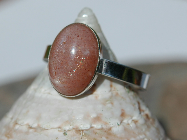 Pink Moonstone Ring with Sterling Silver, Hallmarked, size R,  R132